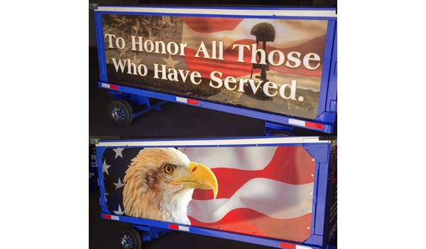 Vehicle Wrap (Luggage Cart) proudly donated to Southwest Airlines.  These are used to transport the caskets of our brave men and women of the US Armed Forces.